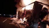 Kırklareli'nde kağıt havlu yüklü TIR alev alev yandı