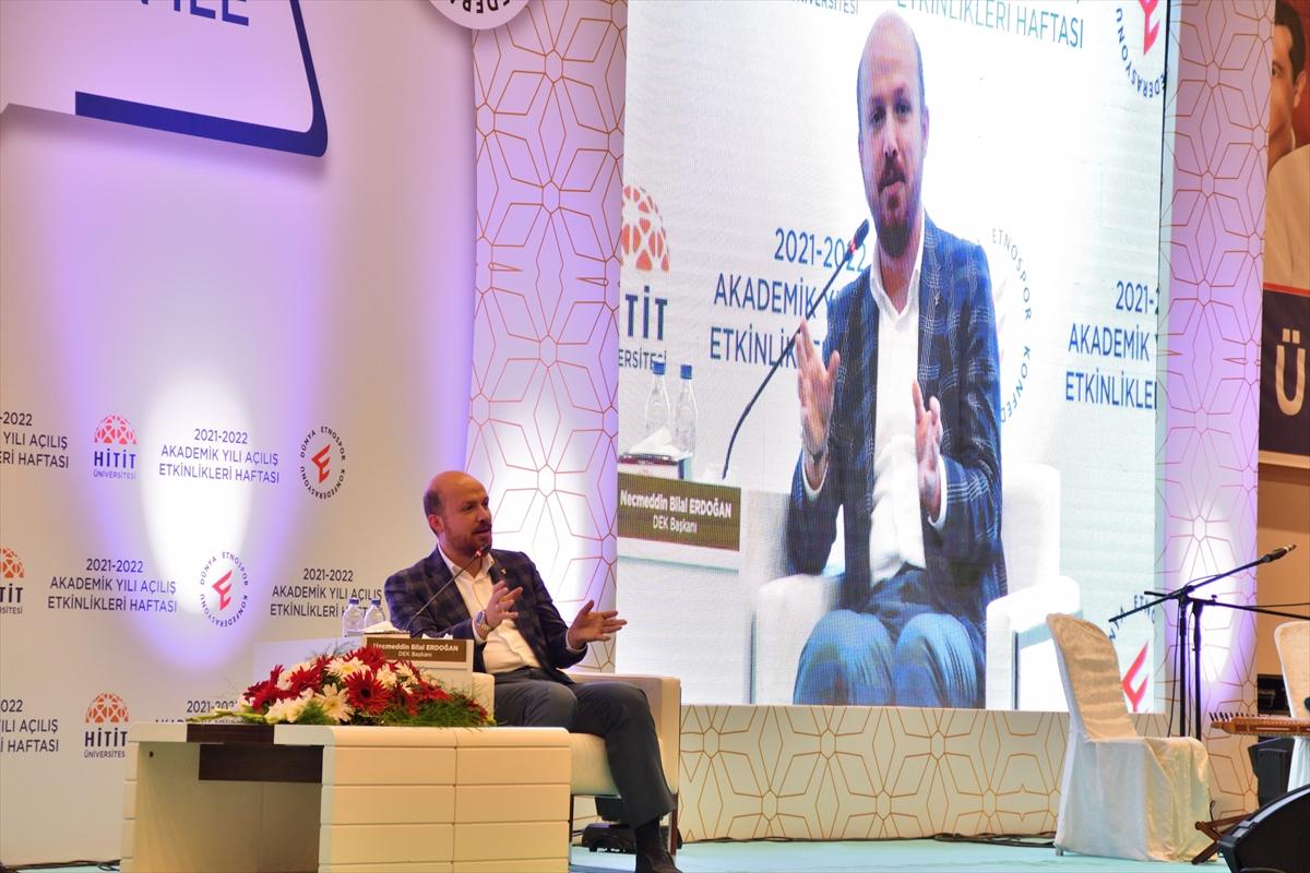 Dünya Etnospor Konfederasyonu Başkanı Bilal Erdoğan, Çorum'da söyleşiye katıldı:
