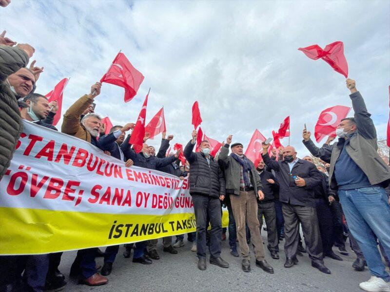 Taksicilerden protesto